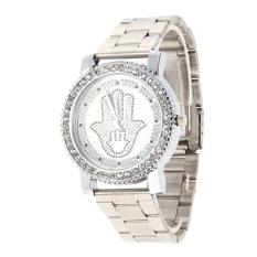 Top Quality New Fashion Wristwatch Diamond Palm Strip Quartz Watch Silver (Intl)