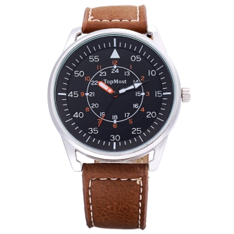 TOPMOST 1933 Male Quartz Watch 3ATM Luminous Pointer Leather Band Wristwatch (Brown)