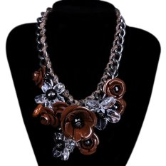 TOSHOON RED Women's Bauhinia Flower Acrylic Diamond Evening Pendant Chain Necklace (Brown) (Intl)