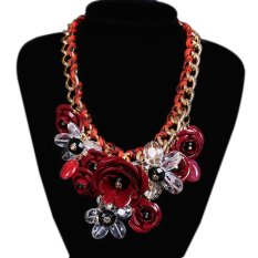 TOSHOON RED Women's Bauhinia Flower Acrylic Diamond Evening Pendant Chain Necklace (Red) (Intl)