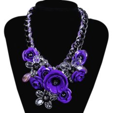 TOSHOON RED Women's Bauhinia Flower Acrylic Diamond Evening Pendant Choker Necklace (Purple) (Intl)