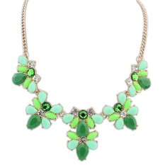 TOSHOON RED Women's Elegant Bauhinia Flower Acrylic Diamond Pendant Chain Choker Necklace (Green) (Intl)