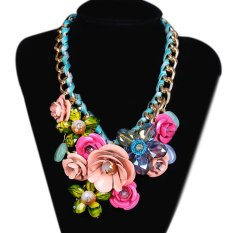 TOSHOON RED Women's Elegant Bauhinia Flower Acrylic Diamond Wedding Party Pendant Necklace (Pink) (Intl)