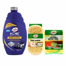 Turtle Wax - Paket Cuci Mobil - Ice Car Wash & Wax - Grime Warrior Sponge - Microfiber Polishing & Buffing Towel
