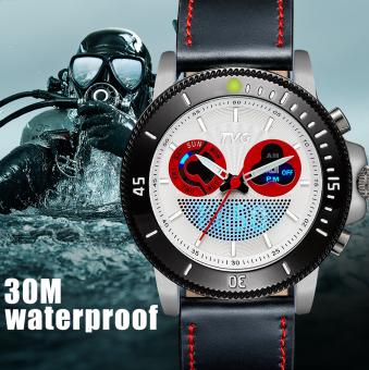 TVG Mens' Digital Blue LED Fashion Luxury Leather Strap Japan Movement Quartz Watch(White