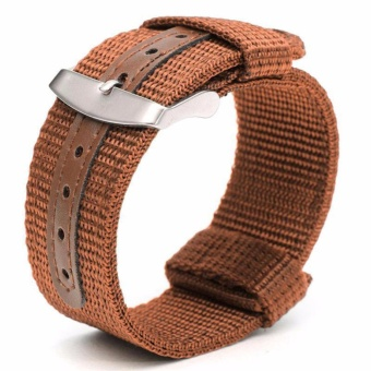 Twinklenorth 22mm Brown Nylon Nato Strap Nylon Military Watch Band Strap Watchband NATO-046 - intl