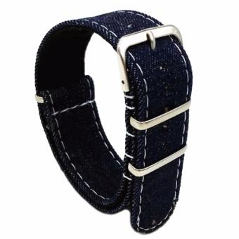 Twinklenorth 22mm Dark Blue Denim Nato Strap Nylon Military Watch Band Strap Watchband NATO-036 - intl