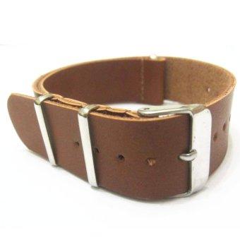 Twinklenorth ww043 20 mm coklat muda kulit asli tali jam militer Nato