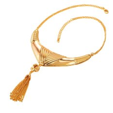 U7 18K Real Gold Plated Tassel Chain Choker Necklace For Women Fashion Jewelry (Gold) (Intl)