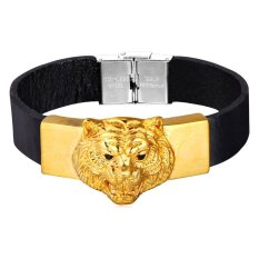 U7 18K Real Gold Plated Tiger Head Leather Bracelet High Quality Stainless Steel Clasp Fashion Men Jewelry (Gold) (Intl)