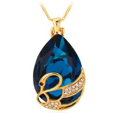 U7 Crystal Jewelry 18K Gold Plated Water Drop Stone Rhinestone Romantic Gift Swan Pendant Necklace (Blue) (Intl)