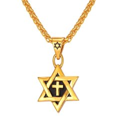 U7 dari Bintang David liontin kalung salib 18 KB nyata emas berlapis Fashion Pria aksesoris perhiasan hadiah sempurna (emas)