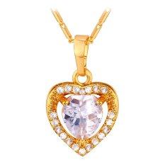 U7 Heart Zircon 18K Gold Plated Pendant Necklace (Gold) (Intl)