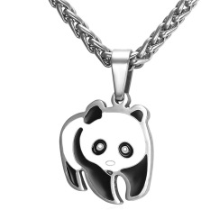 U7 Lovely Panda Pendant Necklace For Women Fashion 316L Stainless Steel Jewelry Perfect Party / Birthday Gift Necklaces Accessories (Silver) - Intl