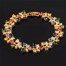 U7 Luxury 18K Real Gold Plated Colorful AAA Zirconia Jewelry Wholesale Romantic Plant Chain Bracelet Women (Intl)