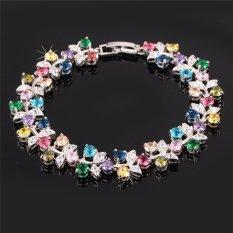 U7 Luxury Platinum Plated Colorful AAA Zirconia Jewelry Wholesale Romantic Plant Chain Bracelet Women (Platinum)