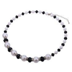 U7 Pearl Jewelry Chain Necklace For Women High Quality Fancy StoneFashion Maxi Necklace (Black)