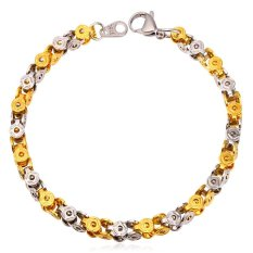 U7 Punk Bike Chain Bracelet Two Tone Gold Plated 18K Real Gold Plated Stainless Steel Jewelry (Intl)
