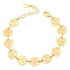 U7 Romantic Flower Women 18K Real Gold Plated Fashion Jewelry Adjustable Chain Bracelet (Gold) (Intl)
