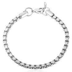 U7 Stainless Steel High Quality Classic Men Box Bracelet (Silver)
