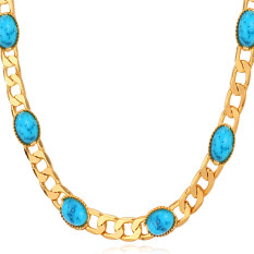 U7 Turkey Stone Necklace 18K Real Gold Plated Turquoise Fashion Jewelry Women Link Chain Necklace (Gold) (Intl)