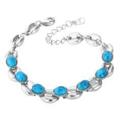U7 Turquoise Chain Adjustable Bracelet Platinum Plated Jewelry (Platinum) (Intl)