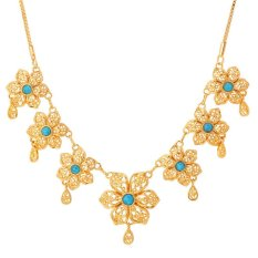 U7 Turquoise Flower Choker Necklace For Women 18K Real Gold Plated Fashion Jewelry Gold Necklace (Gold) (Intl)