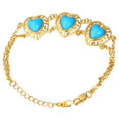 U7 Turquoise Heart Tassel Chain Bracelet 18K Real Gold Plated Romantic Women Jewelry (Gold)
