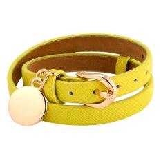 U7 Wrap Adjustable Leather Bracelet Women Fashion 18K Real Gold Plated Charm Bracelet (Yellow)