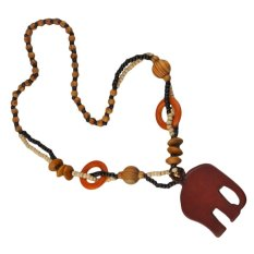 UINN Elephant Pendant Necklace Boho Ethnic Style Long DIY Bead Wood-like Resin