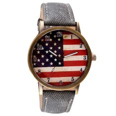 UJS American Flag Pattern Leather Band Analog Quartz Vogue Wrist Watches Gray