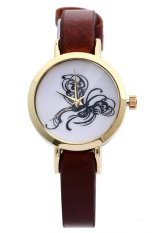 UJS Butterfly Faux Leather Band Analog Quartz Brown Womens Watch (Intl)