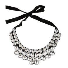 UJS Gem Diamond Flower Glass Crystal Necklace False Collar False Collar Ribbon Korean Fashion Wild
