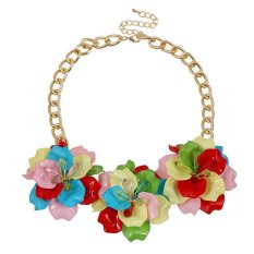 UJS Korea Colored Acrylic Flower Necklace Popular Korean Female Accessories