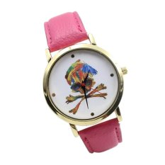 UJS Leather Band Analog Quartz Vogue Wrist Watches Hot Pink