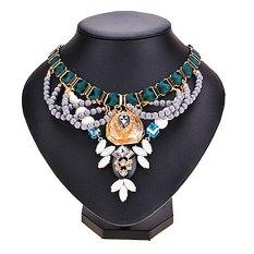 UJS Retro Womens Elegant Rhinestone Beads Pendant Choker Necklace (Gray)