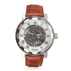 UJS SEWOR Men Sport Skeleton Transparent Brown Leather Quartz Wristwatch (Intl)