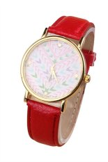 UJS Womens Tribal Aztec Pattern Leather Wrist Watch - Red