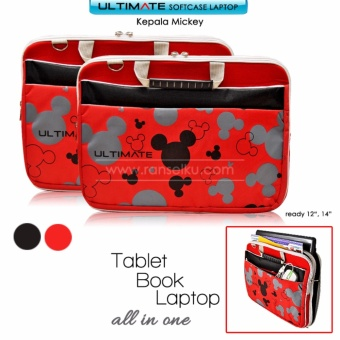 Ultimate Tas/Bag/Cover/Softcase/Backpack Laptop pria/wanita Triple Mickey 14 inch RED