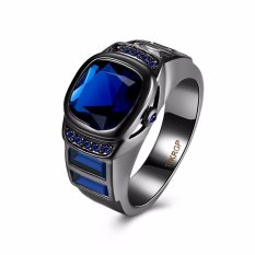 Unisex Black Crystal Diamond Stainless Steel Rings for Party and Gift - intl