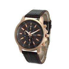 Unisex Casual Geneva Faux Leather Quartz Analog Wrist Watch Coffee