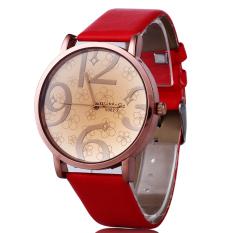 Unisex Fashion Leather Womens Mens Stainless Steel Quartz Watch Wristwatch Gift - Intl