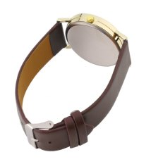 Unisex Man Woman Meter Mirror Round Dial PU Leather Strap Wrist Watch