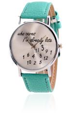 Unisex Men Women Alphabet and Number Pattern Imitation Leather Strap Watches Quartz Wrist Watch Mint Green (Intl)