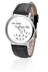 Unisex Men Women Lady Girls Leather Strap Watches Quartz Wristwatch Black