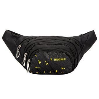 Unisex Waterproof Nylon Sport Waist Bag(Black) - intl