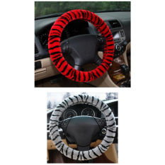 Universal Car Steering-Wheel Cover Winter Warm Cute Tiger Lines Plush Steering Wheel Cover Funda Volante Coprivolante (Red) - Intl