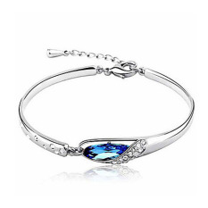 Universal Glass Slipper Bracelet Purple Crystal 925 Sterling Silver / Gelang Wanita