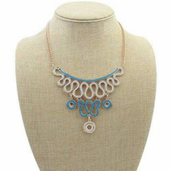 Universal - Ribbon Necklace - Gold Blue