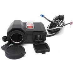 USB Charger Motor 2 Port dengan Cigarette Plug 12V - Black